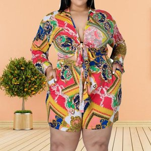 Two Piece Plus Size Women Set Printed Fashion Leisure Long Sleeve Top And Short Pants Matching 2 Outfit Ladies Elegant Women's Tracksuits