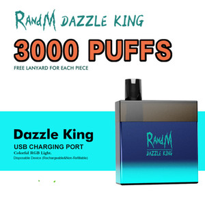 Original RandM Dazzle King Disposable E cigarette 3000puffs 12 Colors