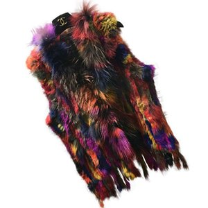 Fashion Womens Real Knitted Rabbit Vests with Raccoon Fur Collar Gilets High Quality Close-woven Waistcoat Plus Size
