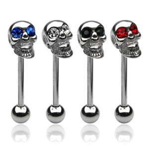 Rings Body Piercing Jewelry Stainless Steel Skull Tongue Ring Nipple Nail Neqtb 1599 V2