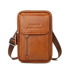 حقائب الخصر 100٪ جلد طبيعي حقيبة واسط للرجال الهاتف المحمول فاني حزمة حزام البسيطة الحقيبة المال حالة غطاء حامل السفر