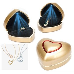 Heart-shaped LED Light Wedding Ring Box Engagement Rings Necklace Earrings Pendants Jewelry Display Case Holder Gift Pouches, Bags
