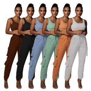 2021 Summer Women Tracksuits Two Piece Set Fashion Lounge Wear Vintage Tank Top Pants S-XXL