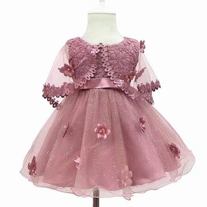Flower Toddler Baby Girl Infant Princess Wedding Dress lace tutu Kids Party Vestidos for 1st birthday
