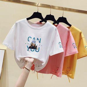 Gkfnmt 2021 tops de cultivo de verano vendaje camiseta camiseta corta hueco fuera camiseta camiseta femme manga de algodón T mujer ropa de mujer