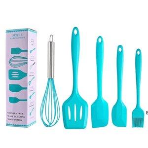 Juego de utensilios de cocina de silicona Herramientas de pastel 5pcs / set Egg Beater Barbecue Pincel Pincel Scraper Fugas de escácula Herramienta de hornear DIY 5 colores DHB6030
