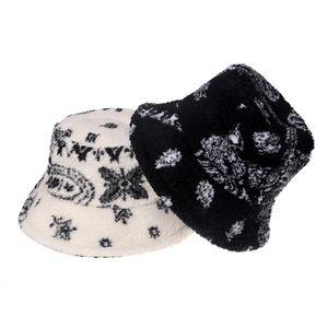 Warm Bucket Hats Black White Winter Outdoor Gorros Panama Lamb Faux Fur Fluffy Paisley Fisherman Caps Mens Hip Hop