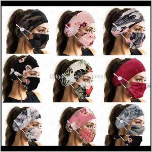 Floral camuflagem fashion face máscara cor combinando cabelo facemak botão esportes headbands duas peças máscaras para mulheres lady edxew cabelo qeh60