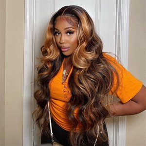Highlight Wig Human Hair For Black Women Brazilian Hair Pre Plucked Hd Frontal Wigs 30 Inch 13x4 Full Body Wave Lace Front Wig