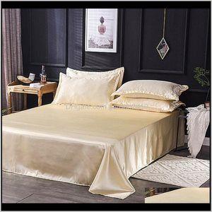 & Sets 40 Wholesale Luxury 100Percent Satin Silk White 1Pcs Flat Sheet Silky Queen King Bed Sheets For Women Men Es9Js Z14Sl