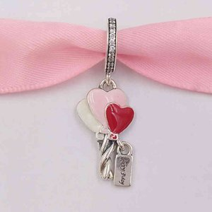 Authentic 925 Sterling Silver Beads Heart Balloons Dangle Charm Charms Fits European Pandora Style Jewelry Bracelets & Necklace 798076CZ