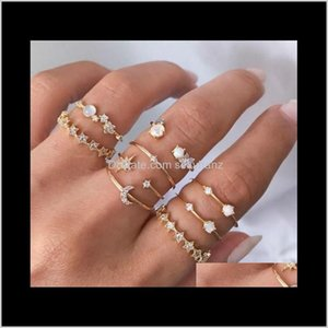 Cluster Crystal Star Moon Gold Diamond Joint Ring Knuckle Rings Women Fashion Jewelry Will And Sandy Gift Nsjqu Qkt0H