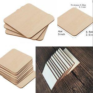 Rectángulo cuadrado recorte de madera sin terminar círculos en blanco rebanadas de madera piezas para el proyecto de arte de pintura de bricolaje HWB6260