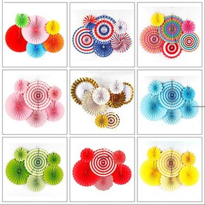 Chinese Printing Vintage Wheel Tissue Paper Hanging Fans Flower Craft Birthday Party Wedding Baby Shower Setting Wall Decoration NHF9037