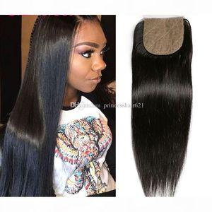 Glamorous Peruvian Straight Hair Closure Natural Color Brazilian Indian Malaysian Virgin Human Hair Silk Based Closure for Black Women