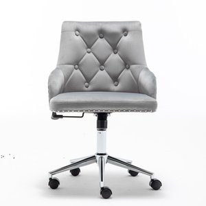 High Back Office Velvet Computer Chair, Home Furniture Swivel Modern Design for Task Reception Bedroom Study, with Arms by sea OWE9554