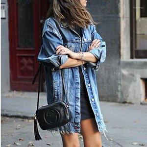 2020 Hot Fashion Women Bottone Buck Hole Patch Denim Pocket Singole Strappato Jeans Giacca lunga Cappotto Outwear Streetwear1