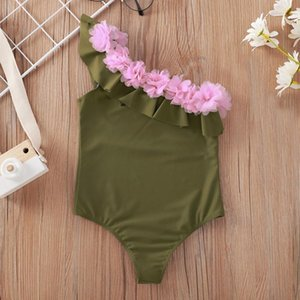 Summer Toddler Baby Kids Girls Clothes Sloping Shoulder Solid One-piece Beach Swimsuit Swimwear Children's Clothing One-Pieces