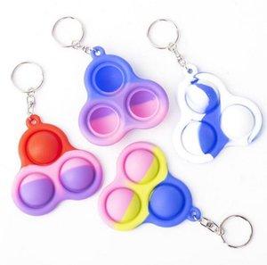 Simples Dimple Keychain Fitget Festa Favor Sensory Pop Brinquedos Push Bubble Triângulo Chave Ring Bag Pingentes Esprema Silicone Pingente