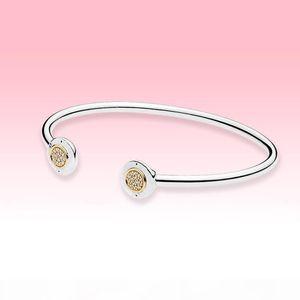 14K Gold plated Open Bangle Bracelet Women Summer Jewelry for Pandroa Real 925 Silver Cuff CZ diamond Bracelets with Original box