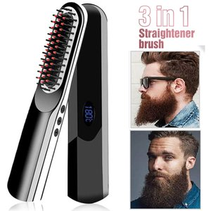 Wireless Men Quick Beard Straightener Hair Style Comb LCD Multifunctional Cordless USB Charging Hair Straightening Brush