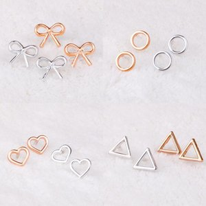 Gold And Silver Color Stud Earrings For Women Bow Heart Round Triangle Female Daily Fashion Wholesale Jewelry 2 Pair 2021