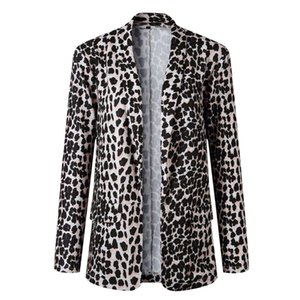 Long Sleeve Daily Wear Snakeskin Printed Shopping Open Front Soft Women Blazer Work Party Casual Slim Fit Turn-down Collar Women's Suits & B