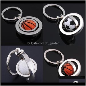 Drop Delivery 2021 3D Sports Rotating Football Keychain Basketball Keyring Souvenirs Golf Pendant Rings Metal Key Chain Gifts Hip Hop Jewelry