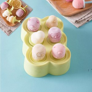 Creative Cartoon Silicone DIY Ice Cream Tools Six-cell Popsicle Box Animal Pattern Icecream Mould BWA4914