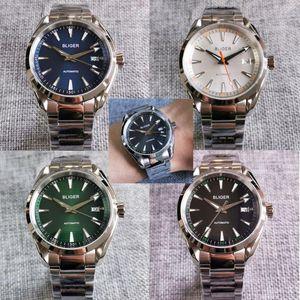 40mm azul / negro / verde / blanco dial mecánico hombres automáticos reloj 24 joyas NH35A Fecha de movimiento de movimiento de zafiro reloj de pulsera