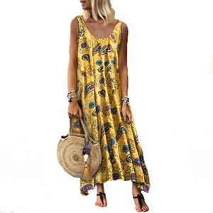 Casual Dresses Summer Ladies holiday printed sexy round neck sleeveless dress women