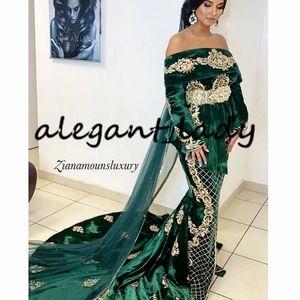 Karakou Negafa Mermaid Wedding Dresses 2020 Hunter Green Velvet Caftan Kaftan Long Sleeve Gold Lace Marocaine Wedding Gown