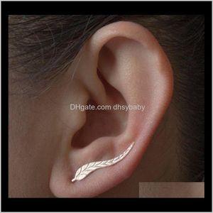 Bolzen Schmuck Drop Lieferung 2021 Cler Ohrringe für Frauen: Blattohr Kletterer Manschette Ohrring Federstöcke DW1MB