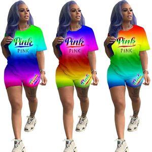 Sexy Frauen Kleidung T-shirt Tops und Shorts Sport Sets Outfits Freizeit Mode Sportswear Rainbow Gradient Brief Druck Zwei Stück Set