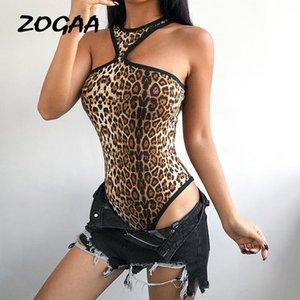 Leopard Imprimir Sexy Party Bodysuit Mulheres Halter Sem Mangas Verão Sem Altais Ombro Marca Magro Bodysuits Bodysuits Womensuits
