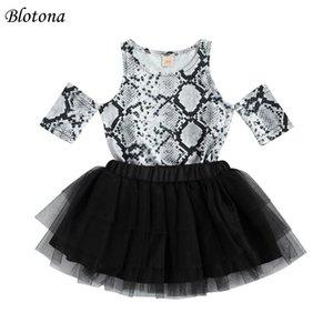 Blotona 2 шт. Стиль отдыха Маленькие девочки наряд Летняя змеиная печать с плечом O-образным вырезом Топ + сетка юбка набор 1-6 лет