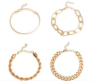 4 in 1 Thick Chain Miami Curb Cuban Lock Pendant Bracelets Bangles Punk Metal Twisted Rope Imitation Bracelet Jewelry