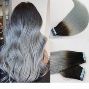 Hair Human Tape in Extensions Ombre Two Tone Colored 1b Grey Silver Gray Glueless 40pcs 100gram Brazilian Virgin Skin Weft