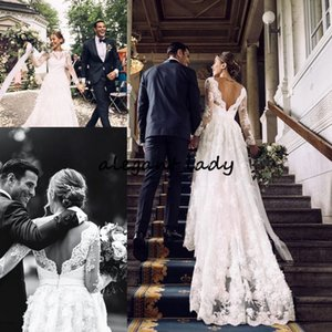 Vintage Bohemian Wedding Dresses With Long Sleeve 2019 Retro Lace Applique Backless Country Fairy Garden Boho Bridal Wedding Gown