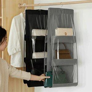 6 bolso dobrável pendurado grande bolsa claro bolsa portador de armazenamento anti-poeira gancho de gancho de rack 401 y2