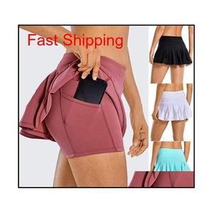 Outfits Tennis Lu Yoga Running Sports Golf Midwaist Pleated Skirt Back Waist Pocket Zipper Gym Clothes Women Mini Dress Uvo49 Leexy