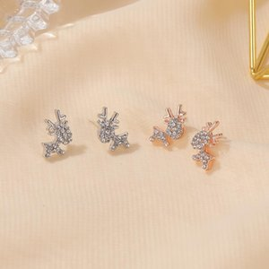 Stud Face Elk Ear Studs For Women Simple And Cute Deer Earrings Exquisite Small Animal Christmas Gifts