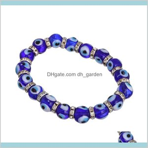 Beaded Strands Bracelets Fashion Men Women Blue Color Round Shape Evil Eye Beads Lampwork Glazed Glass Bead Energy Yoga Crystal Bracel