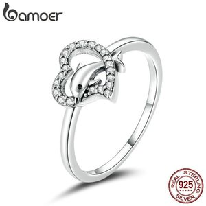 Cluster Rings Bamoer S925 Sterling Silver Dolphin With Heart CZ Bubble Finger For Women Engagement Wedding Statement Jewelry SCR671