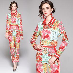 Dropshipping por atacado primavera verão outono Dois pedaços 2 pcs mulheres senhoras conjuntos casuais vintage colarinho manga longa camisa top blusa calças terno roupas trajes