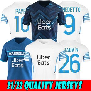 21/22 Olympique de Marsella Fútbol Jersey 2021 Thauvin Payet Om Milik Maillot Shirt Benedetto Sanson L.Gustavo Kamara Uniforme de fútbol