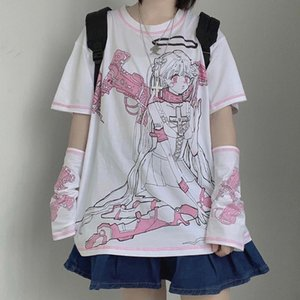 Latimeelon harajuku streetwear mecánico angel manga corta camiseta mujer ropa verano o-cuello dulces chicas blancas tops tee femenino