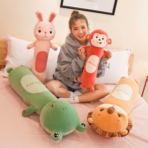 55cm soft long sleeping cylindrical lion rabbit pillow doll creative lazy plush toy children's dolls toys