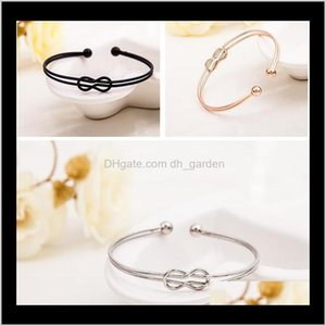 Bracelets Jewelry Drop Delivery 2021 Arrival Cross Bangle Simple Beads Charm Bracelet Rose Gold Sier Plated Open Cuff Bangles Gift For Women