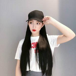Tiktok Same Style Fast Hand Hat Wig One Female Net Red Black Long Straight Hair Synthetic Wigs Factory Wholesale Agent
